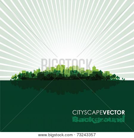 green cityscape overprint background