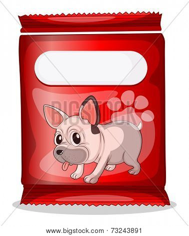 Illustration of a packet of dogfood on a white background