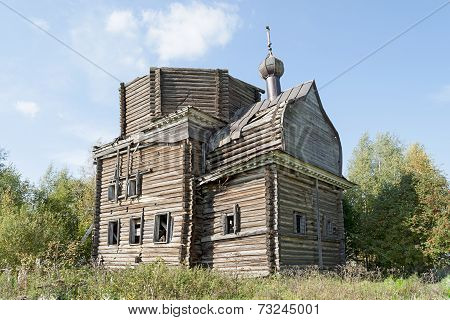 Ancient Destroyed Wooden Church In Northern Russian Village