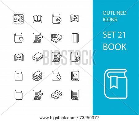 Outline icons thin flat design, modern line stroke style, web and mobile design element, objects and vector illustration icons set 21 - book collection poster