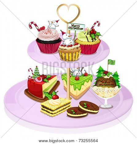 Illustration of a cupcake tray with lots of baked goods on a white background
