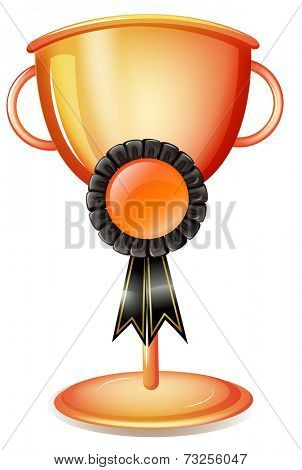 Illustration of a worldcup trophy with a black ribbon on a white background
