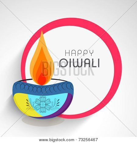 Celebration of Diwali with illuminated oil lit lamp and stylish text of Happy Diwali.