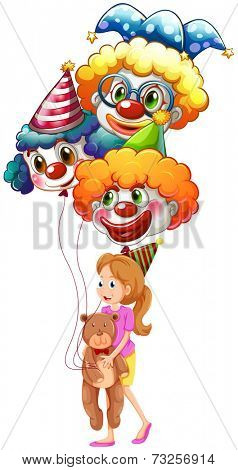 Illustration of a young lady with clown balloons and a teddy bear on a white background
