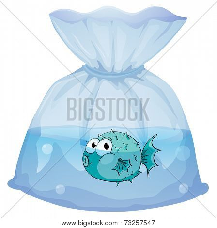 Illustration of a blue fish inside the plastic on a white background