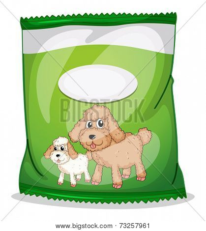 Illustration of a green dogfood pouch with an empty label on a white background