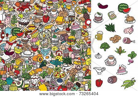 Find food visual game. Solution in hidden layer! Illustration is in eps8 vector mode! Each elements are isolated and on separate layers. poster