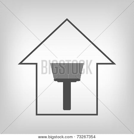 House with paint brush