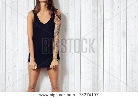 Young Woman Wearing Black Sleeveless T-shirt