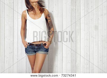 Woman Wearing Blank Vest