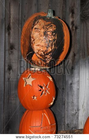 LOS ANGELES - OCT 4:  Arnold Schwarzenegger Carved Pumpkin at the RISE of the Jack O'Lanterns at Descanso Gardens on October 4, 2014 in La Canada Flintridge, CA
