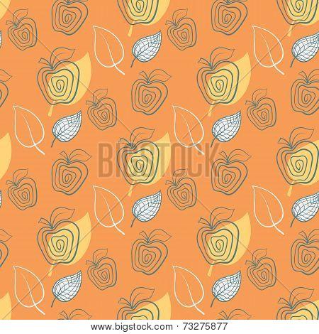 Seamless Pattern With Apple.apple,yeelow,leaf.