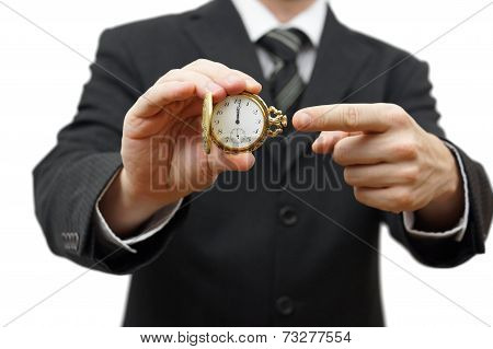 Elay Or Late Concept With Businessman Showing Pocket Watch