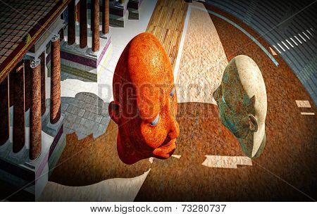 Portrait of dictators in  colosseum
