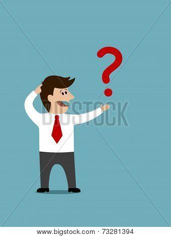 Cartoon man holding a question mark