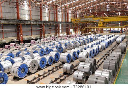 Steel Rolls in Factory