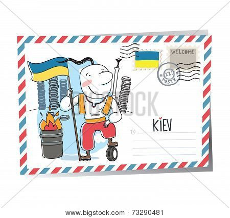 Ukraine Kiev vector postcard