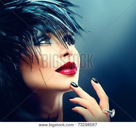 Fashion Art Portrait Of Beautiful Girl. Vogue Style Woman. Hairstyle. Black Hair and Nails, red lipstick. Isolated on Black Background. Beauty Stylish Model Portrait  poster