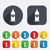 Condom safe sex sign icon. Barrier contraceptive symbol. Circles and rounded squares 12 buttons. Vector poster