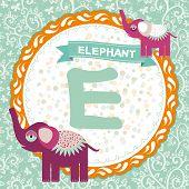 ABC animals E is elephant. Childrens english alphabet. poster