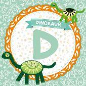 ABC animals D is dinosaur. Childrens english alphabet. poster
