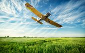Agriculture, low flying yellow plane sprayed crops in the field poster