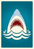Shark jaws.Vector blue background illustration for text poster