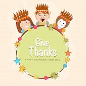 Cute little happy Indian American kids holding wishing message Give Thanks on occasion of Thanksgiving Day celebrations. poster