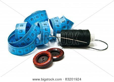 Spool Of Black Thread, Buttons And Meter