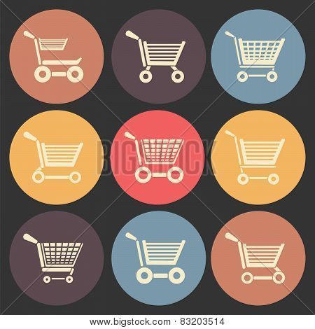 Shoping Cart Flat Icon Set In Color Circles