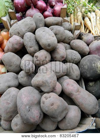 Potatoes On Stalls
