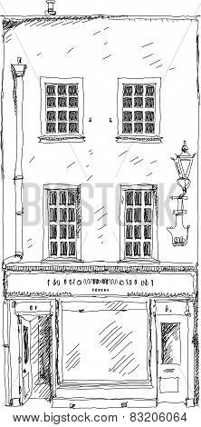 Old English town house with small shop or business on ground floor. Bond street, London. Sketch coll