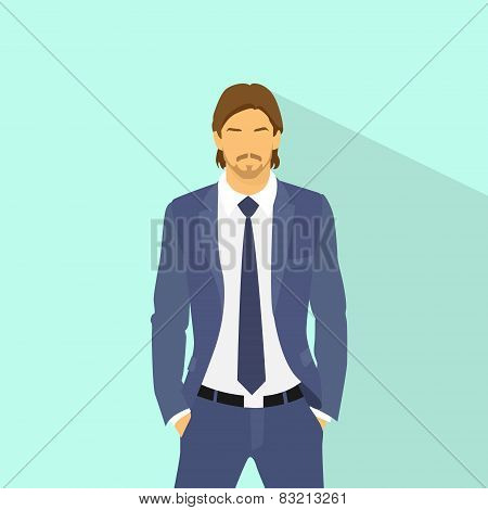 Businessman wear elegant fashion suit hold hands in pockets, business man flat icon