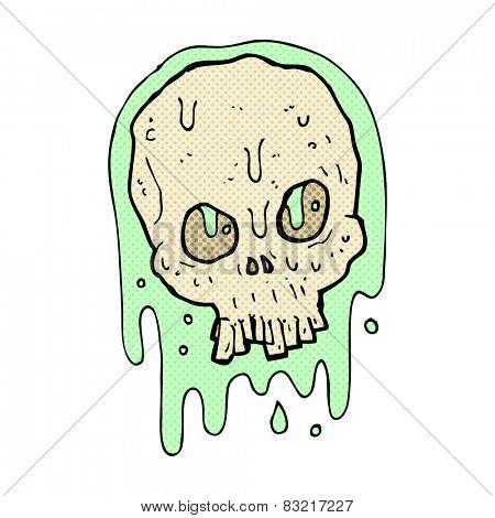 retro comic book style cartoon slimy skull