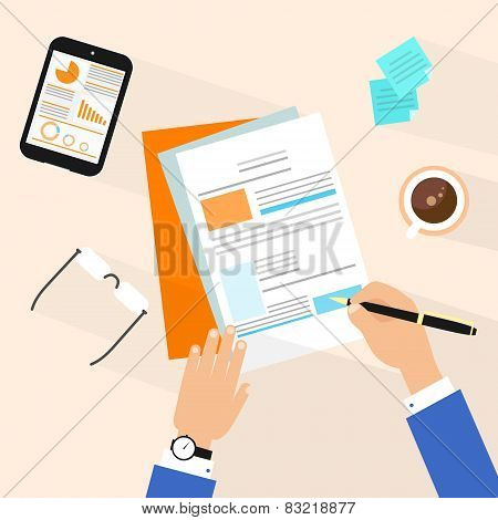 Business man document signing up contract agreement, Businessman workplace top angle above view