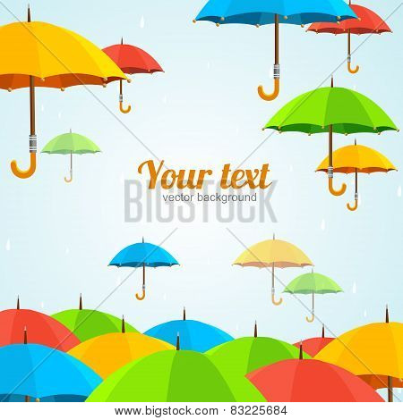 Vector colorful umbrellas fly. Flat Design