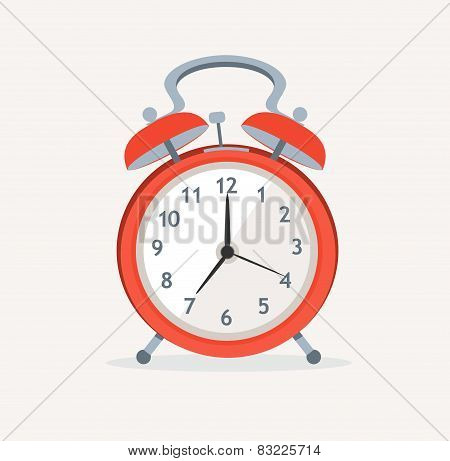 Vector red wakeup clock. Flat Design