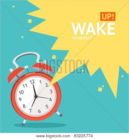Vector red wakeup clock card. Flat Design