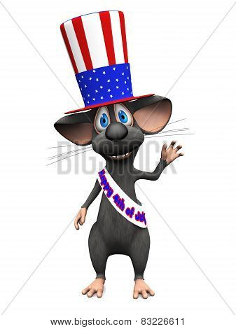 Smiling Cartoon Mouse Celebrating 4Th Of July Or Independence Day.