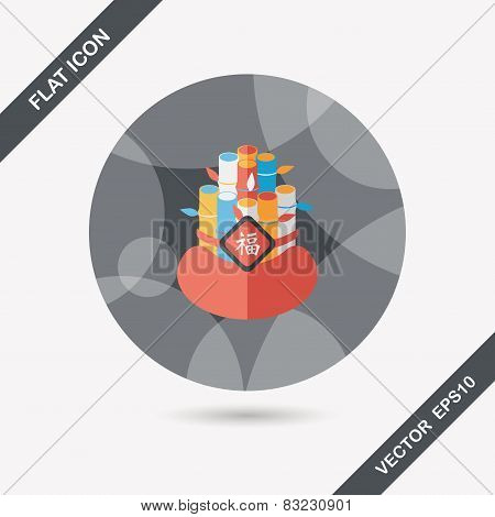 Chinese New Year Flat Icon With Long Shadow,eps10, Chinese Decorative Bamboo Means