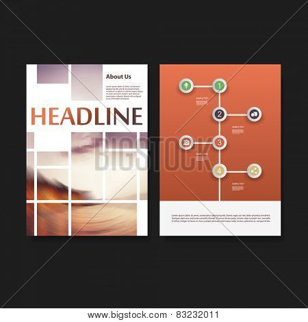 Flyer or Cover Design Template - Business, Networks, Infographics - Corporate Identity Concept