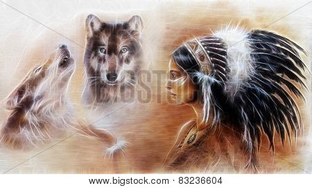 Beautiful Airbrush Painting Of A Young Indian Woman Wearing  With Wolf