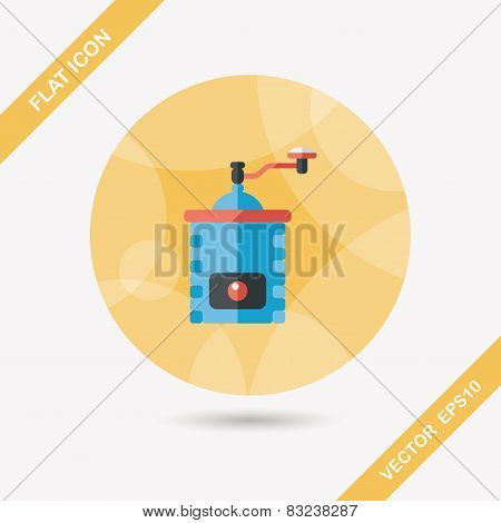 Grinding Coffee Machine Flat Icon With Long Shadow,eps10