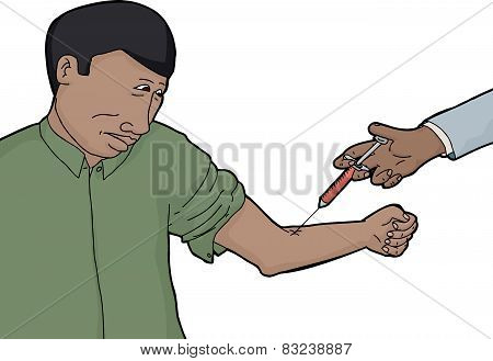 Isolated Man Worried With Blood Test
