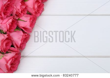 Roses Flowers On Valentine's Or Mother's Day On Wooden Board