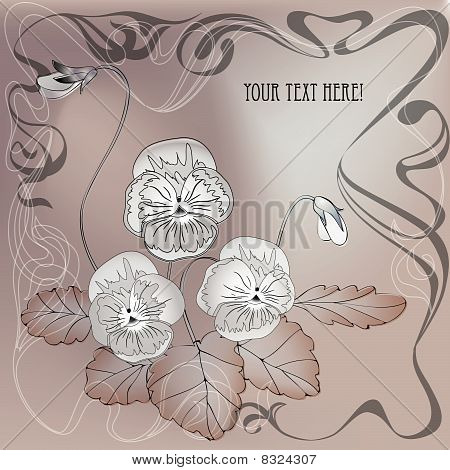 bouquet of summer flower. Art nouveau vintage style.