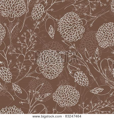 Vector Seamless Floral Pattern With Chrysanthemum