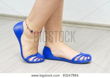 Woman Wearing 3d Printed Shoes