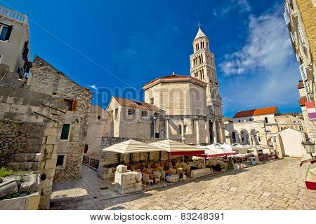 Old Split roman ruins and cathedral view Dalmatia Croatia poster