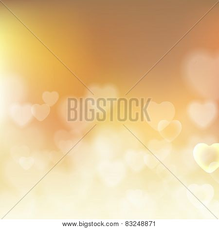 Shining bokeh effect hearts beige vector background